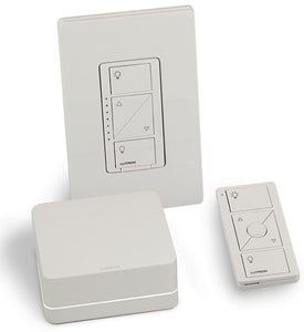 Lutron P-BDG-PKG1WS Starter Kit with Smart Bridge, In-wall Dimmer, Claro Wallplate, Pico Remote - Ready Wholesale Electric Supply and Lighting