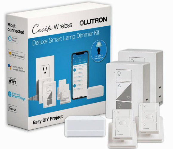 Lutron P-BDG-PKG2P - Smart Kit, Smart Bridge/(2) Lamp Dimmers/(2) Pico Remotes/(2) Pedestals - Ready Wholesale Electric Supply and Lighting