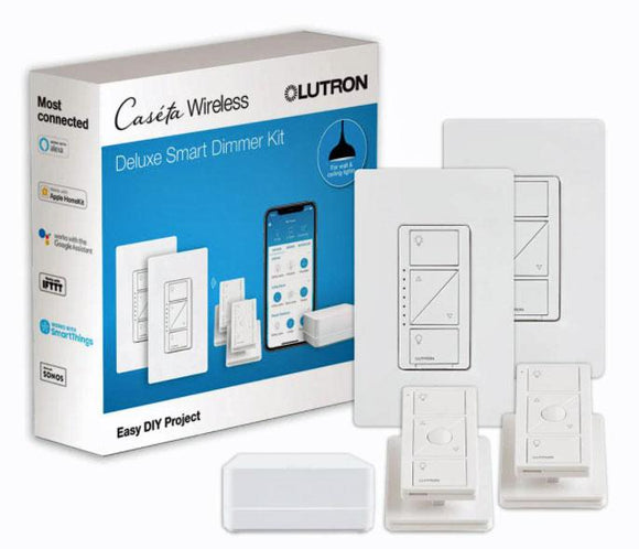 Lutron P-BDG-PKG2W-A Wireless Deluxe Dimmer Bridge Caseta Smart Start Kit - Ready Wholesale Electric Supply and Lighting