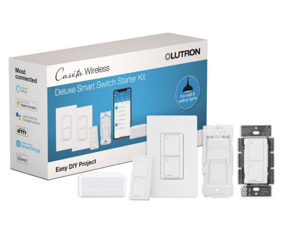 Lutron P-BDG-PKG2WS-WH - Caseta Deluxe Smart Switch Kit with Smart Bridge, 2 Smart Switches - White - Ready Wholesale Electric Supply and Lighting