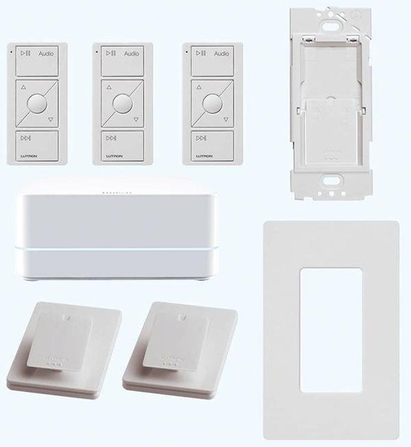 Lutron P-BDGPROPKG3AW Kit with Smart Bridge PRO, Pico Remotes, Pedestals, Wallplate and Bracket - Ready Wholesale Electric Supply and Lighting