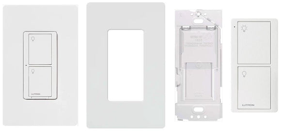 Lutron P-PKG1WS-WH Kit With Switch, Pico Remote, Wallplate and Bracket - Ready Wholesale Electric Supply and Lighting