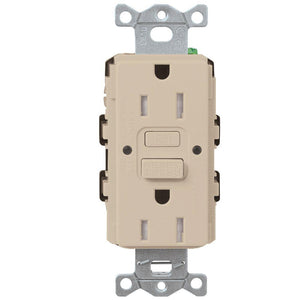 Lutron SCR-15-GFST Designer Style (Satin) 15A Self-Testing, GFCI, Tamper Resistant Receptacle - Ready Wholesale Electric Supply and Lighting