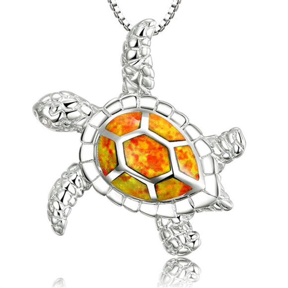Ocean Charity Jewelry, Red Blue Faux Opal Sea Turtle Necklace