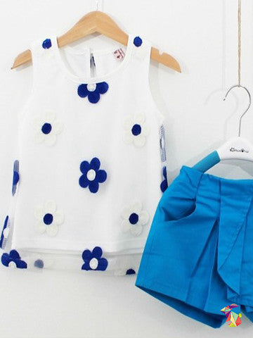Blue & White Flowers kids girls top and shorts