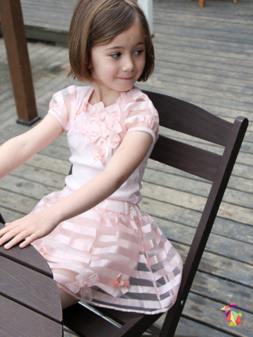 Bows & Stripes kids girls top and skirts