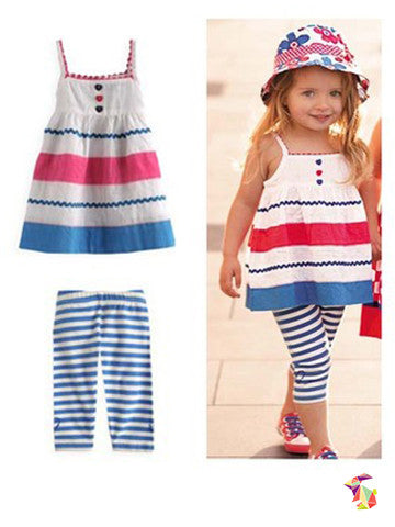 Red Blue & White kids girls top and leggings