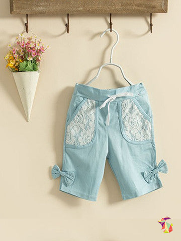Blue Lace Capris girls pants