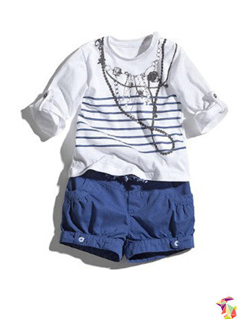 Blue White kids girls top and shorts
