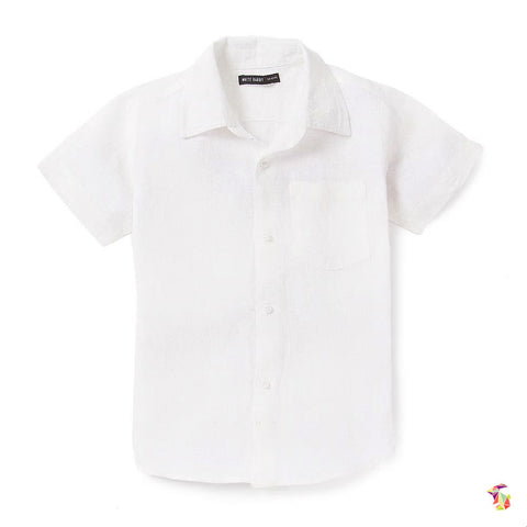 Smart White Half Sleeves Linen Shirt