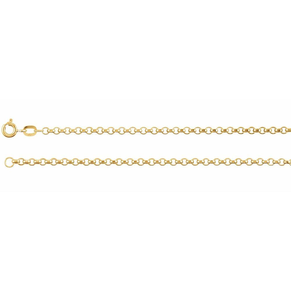 Hollow Diamond Cut Rolo Chain With Spring Ring (111826)