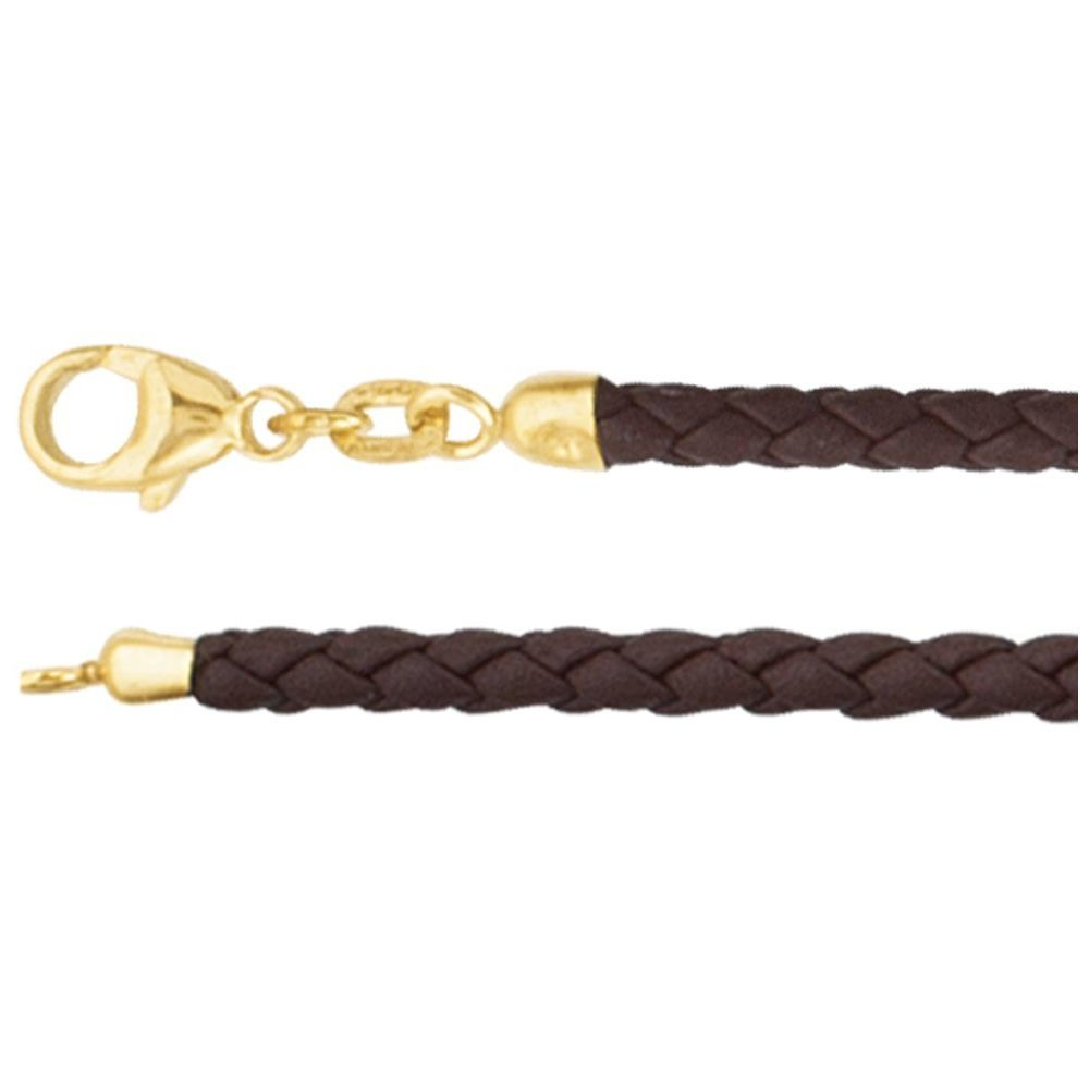 Brown Braided Leather Cord With Lobster Clasp (1725497)