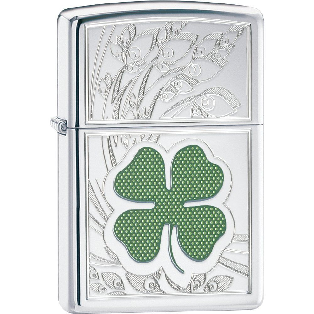 Zippo® Clover High Polish Chrome Lighter (5619100)