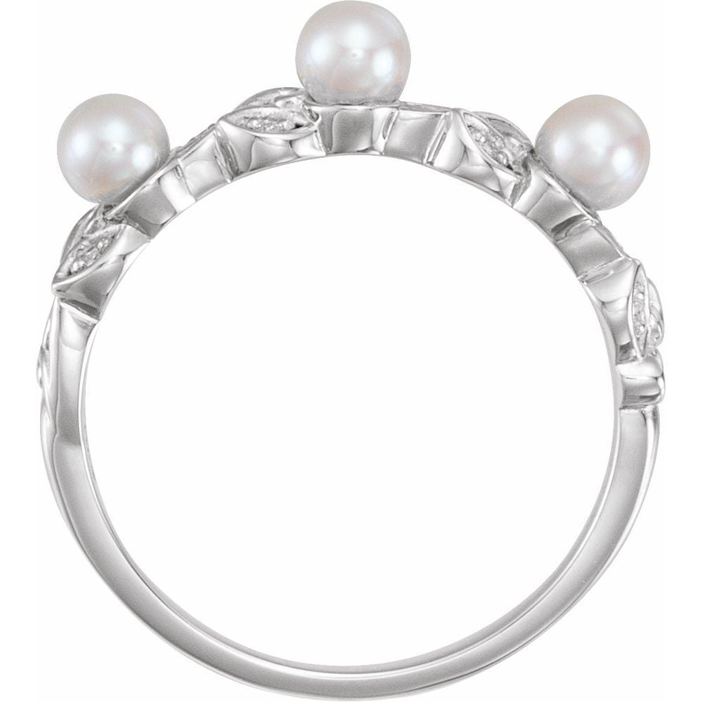Pearl And .03 Ctw Diamond Stackable Leaf Pattern Ring (13381035)