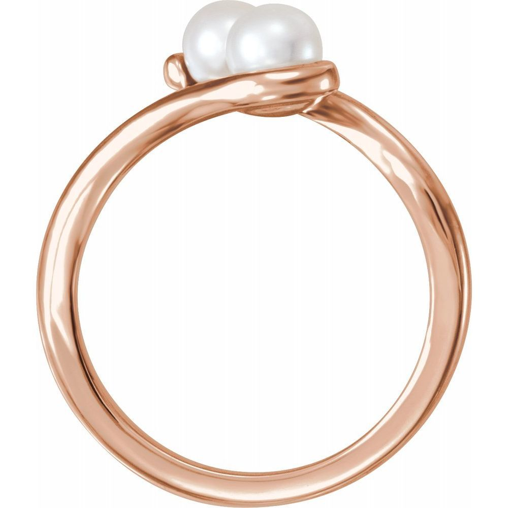 White Freshwater Cultured Pearl Two-Stone Ring (13409704)