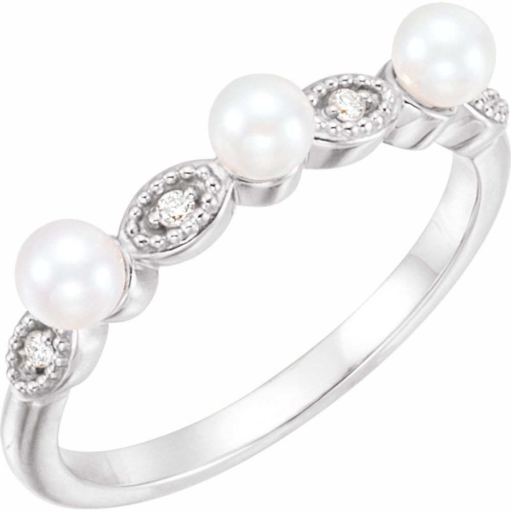 White Freshwater Cultured Pearl And .03 Ctw Stackable Ring (13483047)