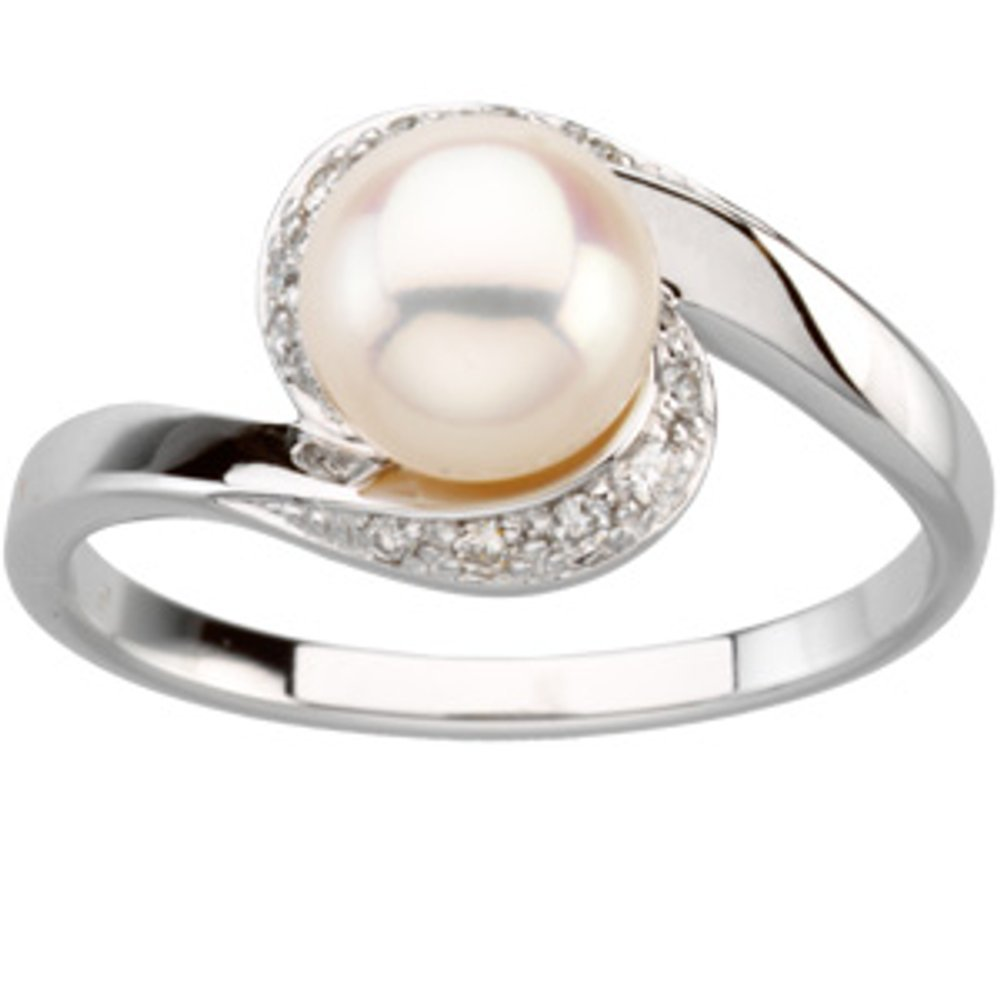 Freshwater Cultured Pearl And 1/10 Ctw Dia Ring (12233343)