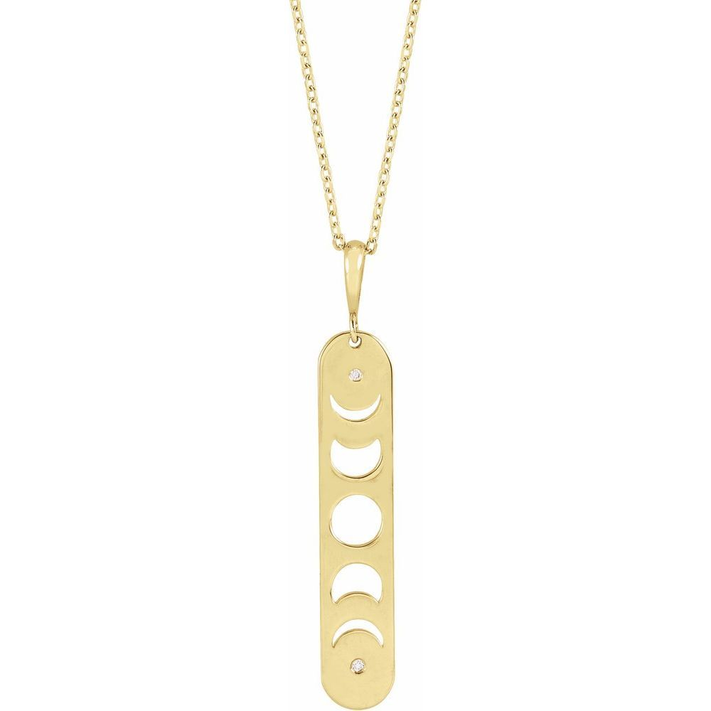 Diamond Accented Moon Phases Bar Necklace (17925907)