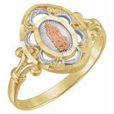 Two-Tone Lady Of Guadalupe Ring W/Rho Plating (225142)