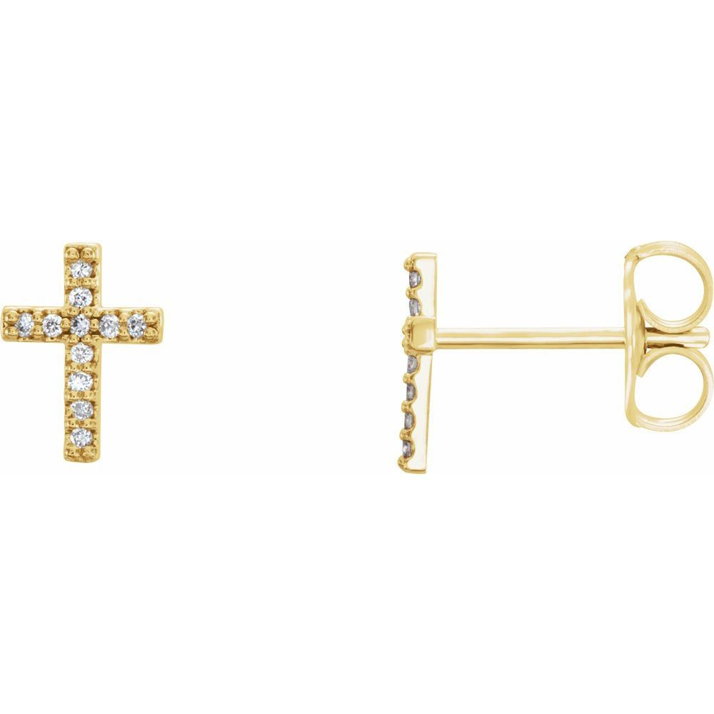 .05 Ctw Diamond Cross Earrings With Backs (12370067)