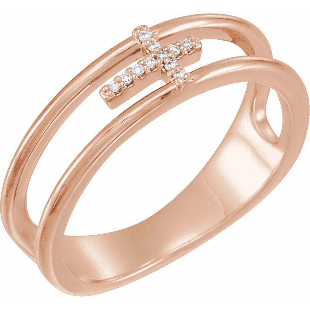 .025 Ctw Diamond Negative Space Cross Ring (13374022)