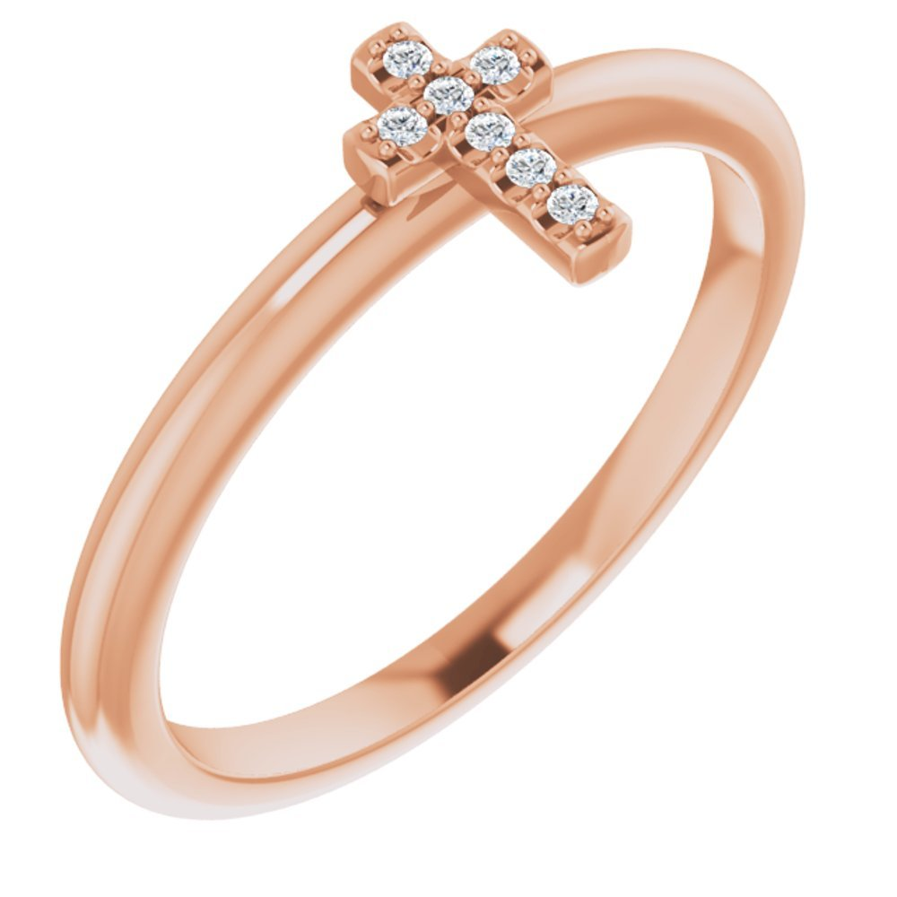 .03 Ctw Diamond Stackable Cross Ring (13854005)