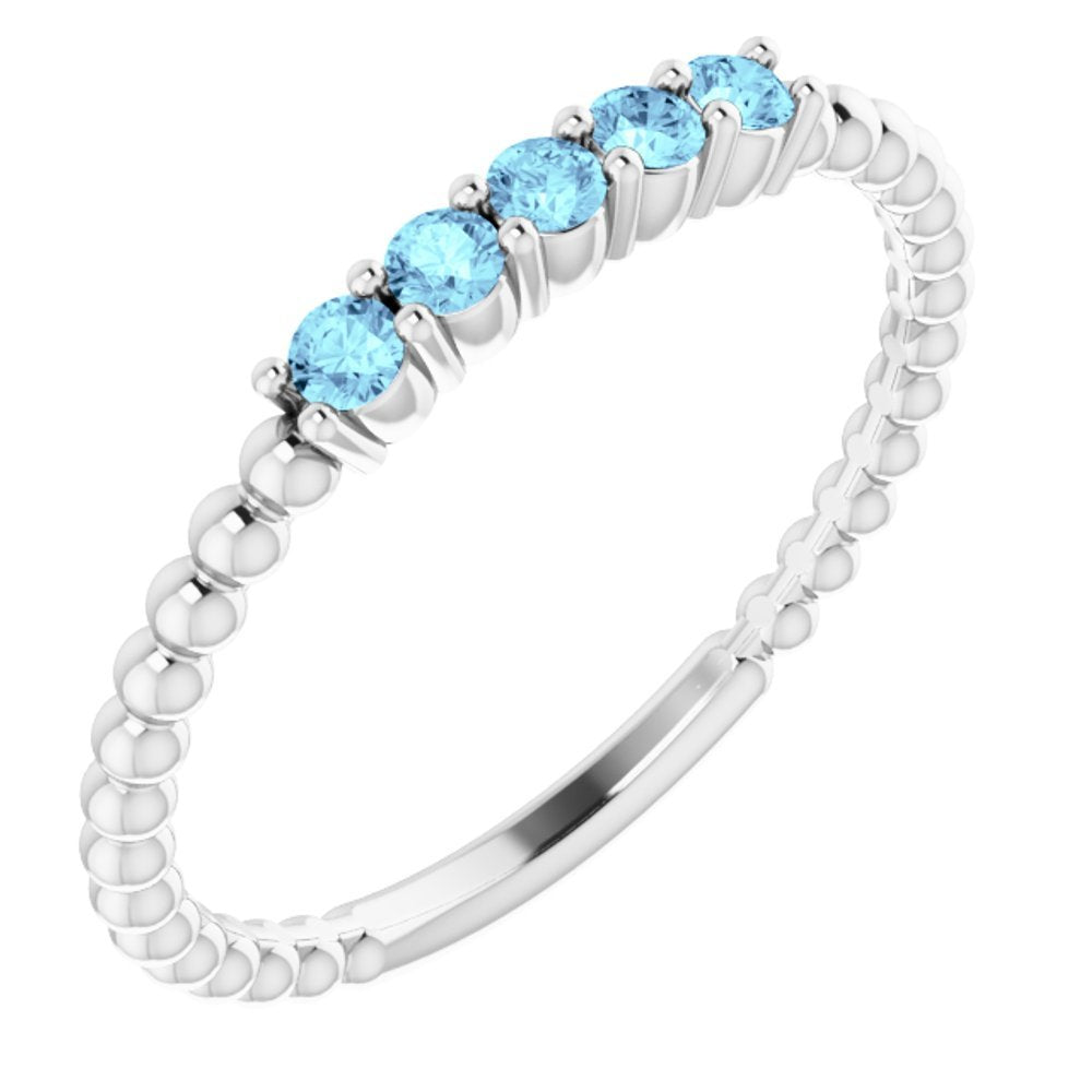 Genuine Aquamarine Stackable Ring (12725588)