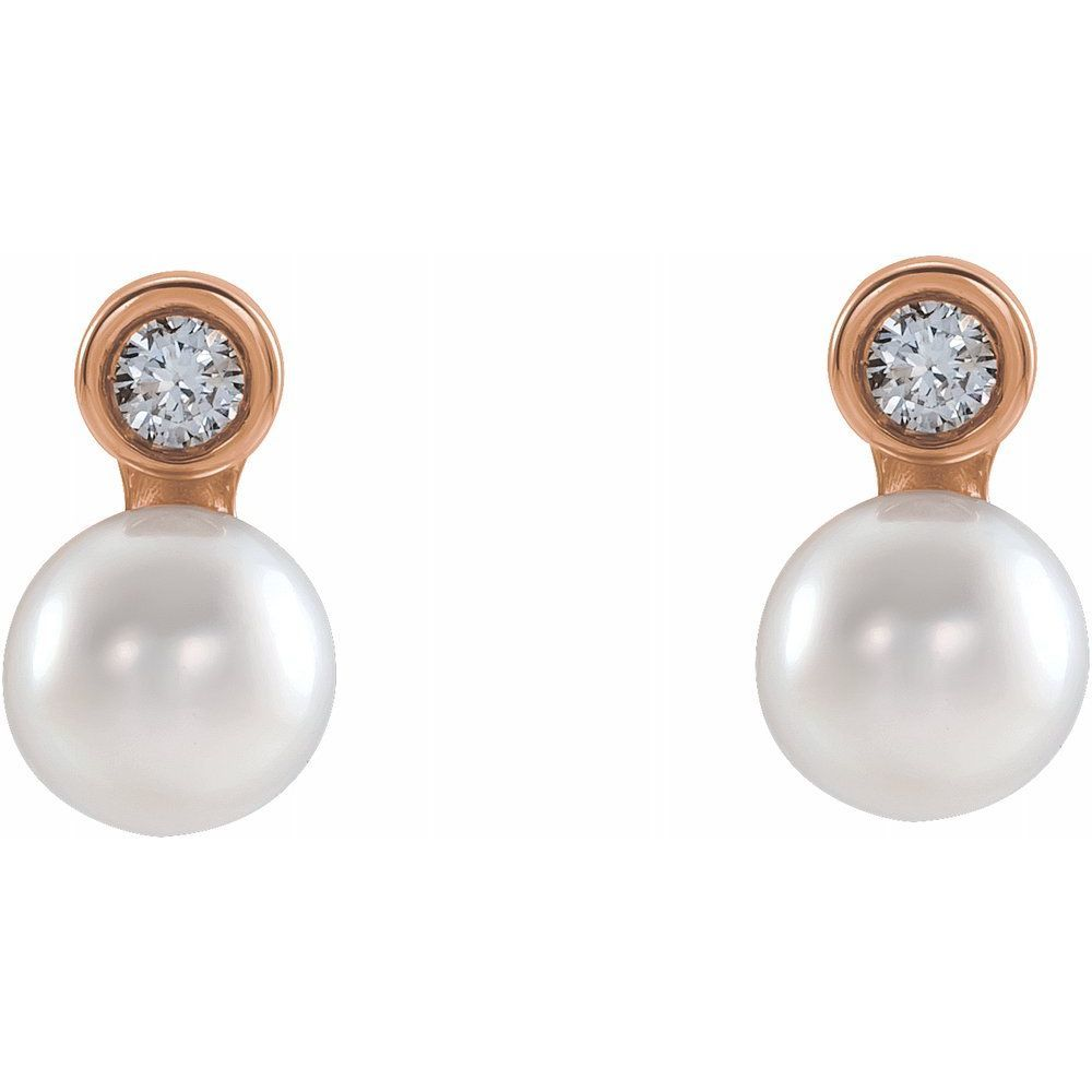 White Akoya Pearl And .06 Ctw Diamond Bezel-Set Earrings (17399545)