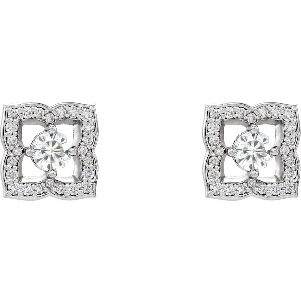 1/3 Ctw Diamond And Forever One Moissanite Earrings (12886738)