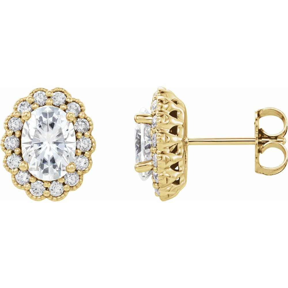 Forever One 2 Ctw Moissanite And 3/8 Ctw Diamond Earrings (12816041)