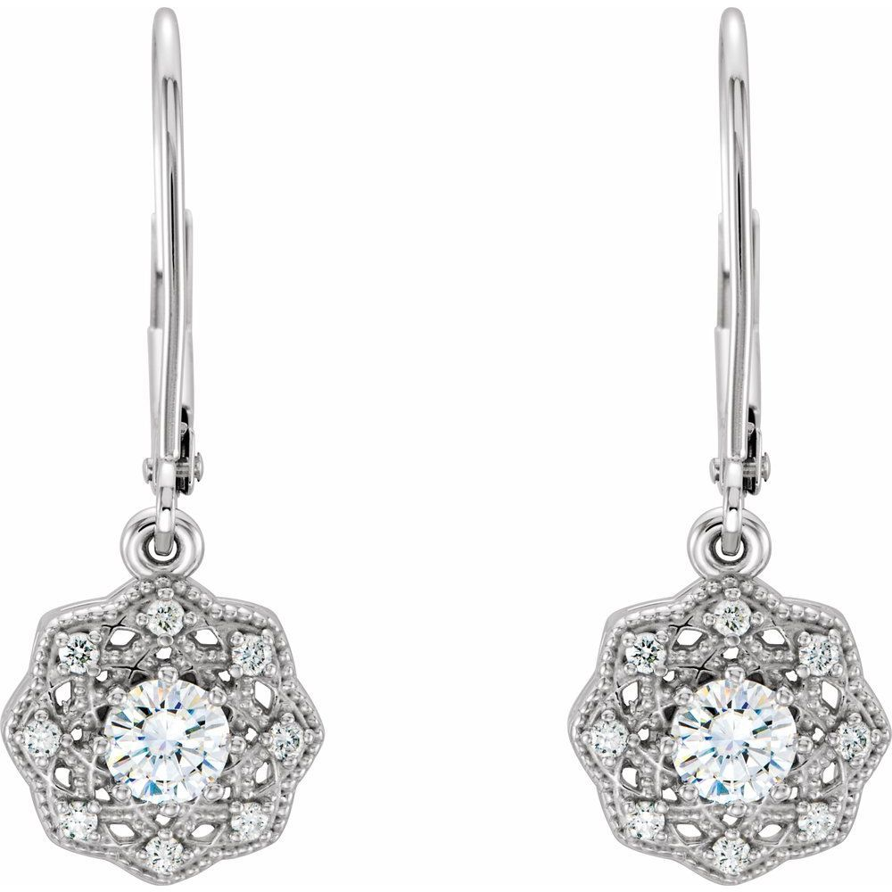 Forever One 1/2 Ctw Moissanite And 1/8 Ctw Diamond Earrings (12816049)