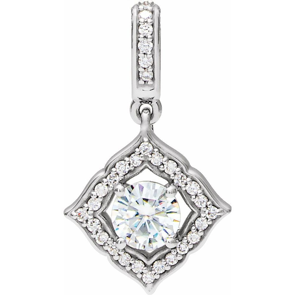 Forever One Colorless Created Moissanite And 1/8 Ctw Diamond Clover Pendant (12886746)