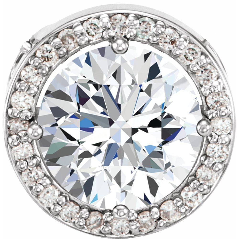Forever One Moissanite And .05 Ctw Diamond Pendant (12816062)