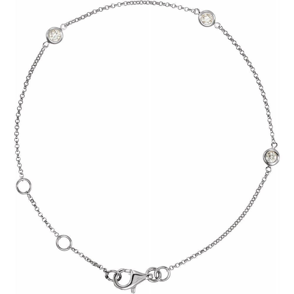 Diamond Bezel Set 3-Station Bracelet (14527217)