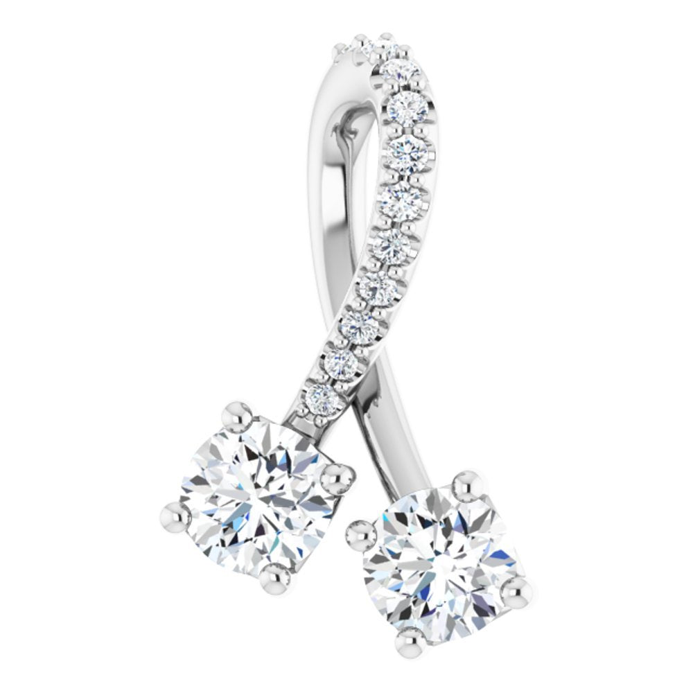 Forever One Colorless Moissanite And .05 Ctw Diamond Pendant (14630784)