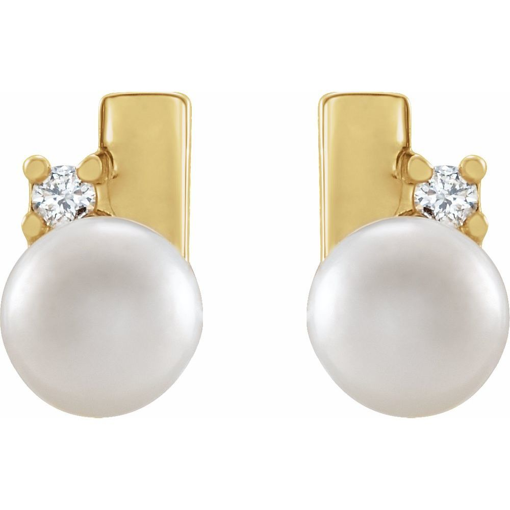 White Akoya Pearl And .03 Ctw Diamond Geometric Earrings (17548317)
