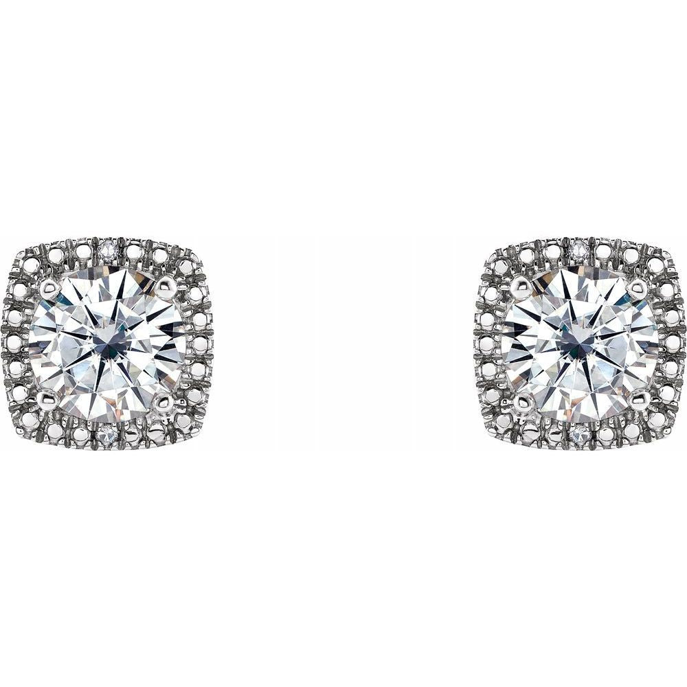 Forever One 1 1/2 Ctw Moissanite And .015 Ctw Diamond Earrings (12816040)