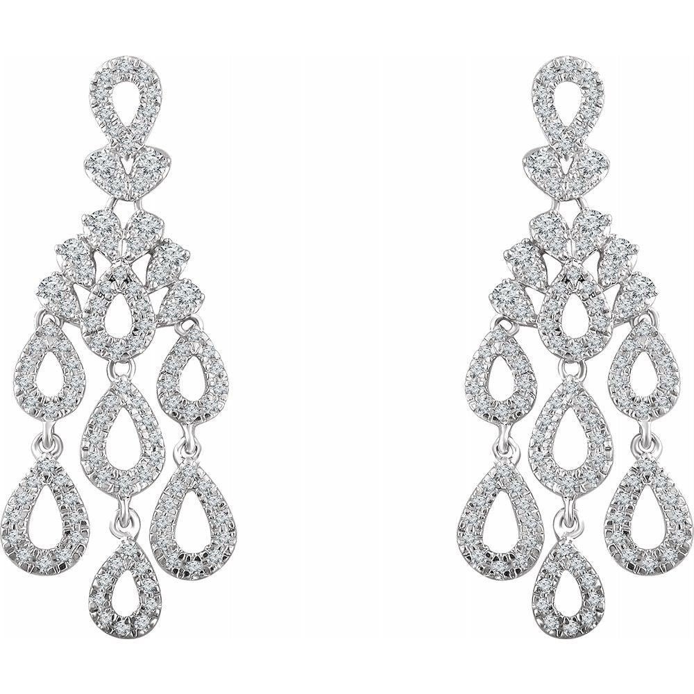 7/8 Ctw Diamond Dangle Earrings With Backs (13023058)
