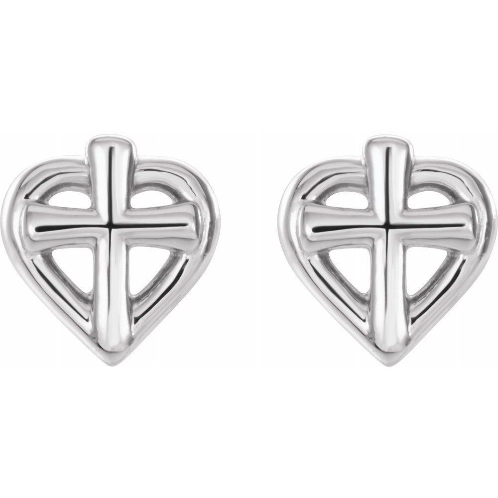 Youth Cross With Heart Earrings With Backs (14420462)
