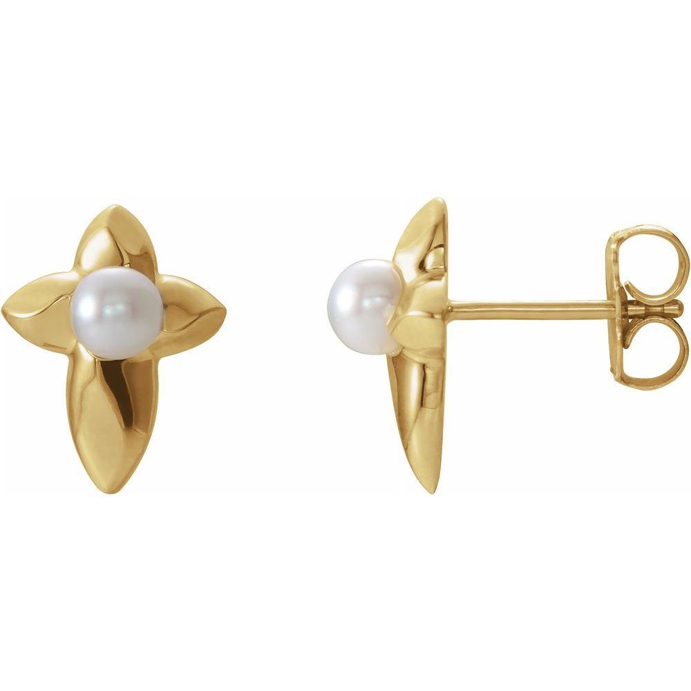 Pearl Cross Earrings With Backs (14824398)