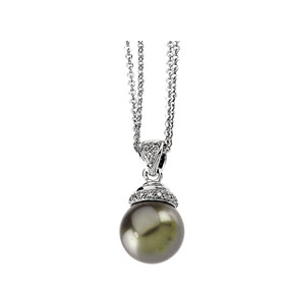 Freshwater Cultured Black Pearl And .07 Ctw Diamond Pendant (3100119)