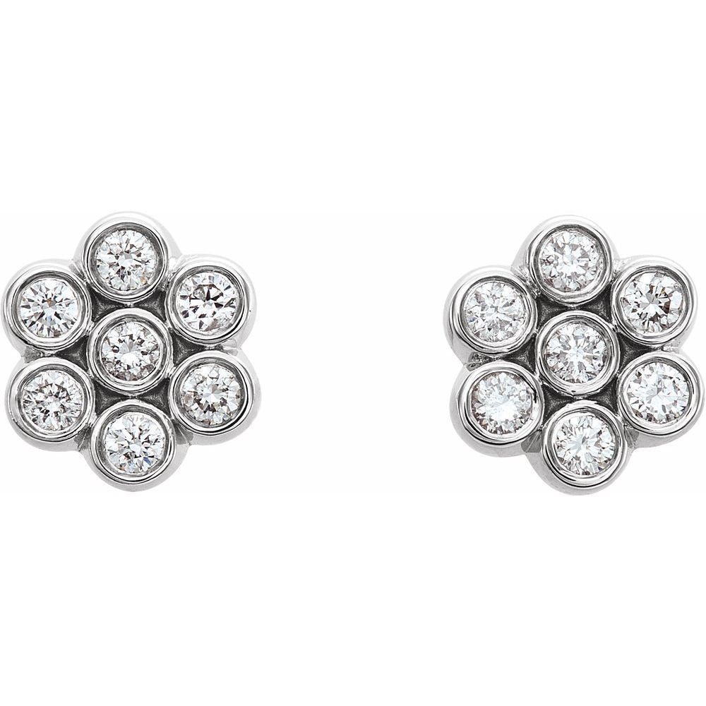 1/4 Ctw Diamond Cluster Earrings With Backs (12396176)