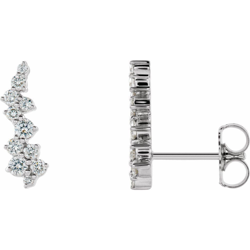 3/8 Ctw Diamond Ear Climbers With Backs (13500443)