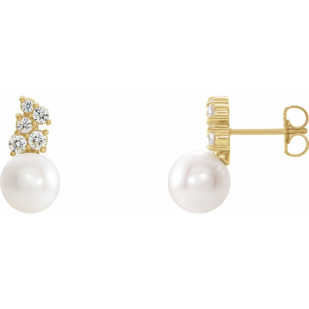 White Freshwater Cultured Pearl And 3/8 Ctw Diamond Earrings (14824363)