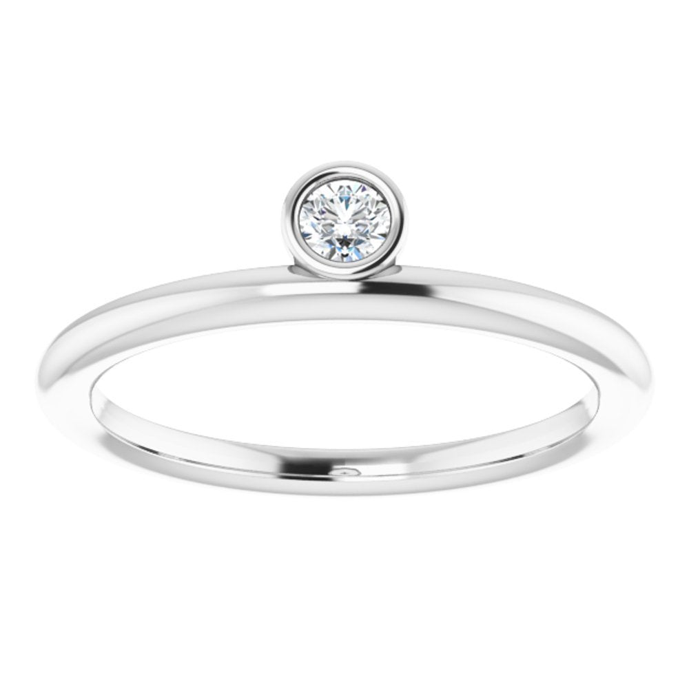 Colorless Created Moissanite Asymetrical Stackable Ring (13782322)