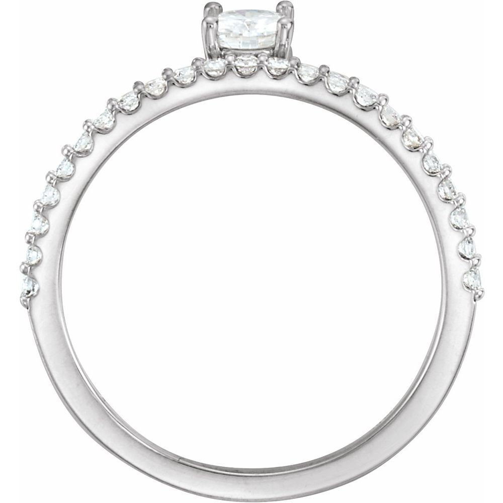 Colorless Created Moissanite And 1/5 Ctw Dia Stackable Ring (13787195)
