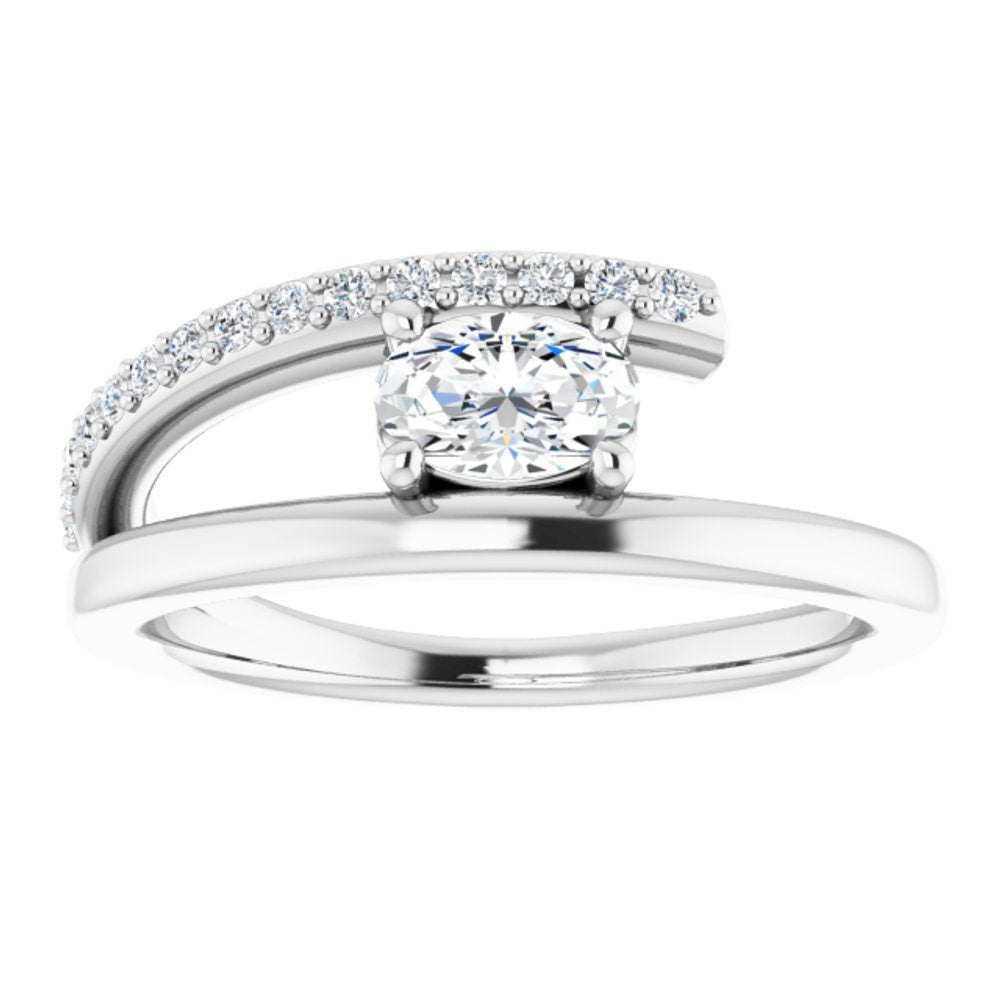 Colorless Created Moissanite And 1/8 Ctw Dia Bypass Ring (13783606)
