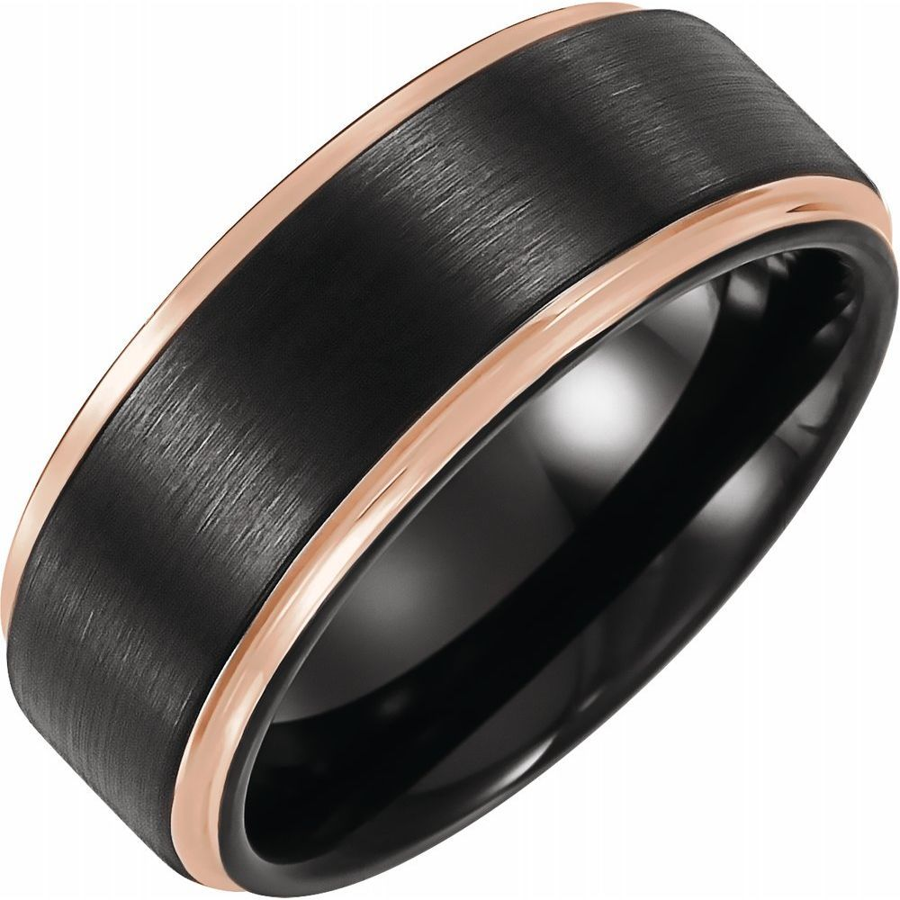 Flat Grooved Band With 18K Rose Gold And Black Pvd (14774165)
