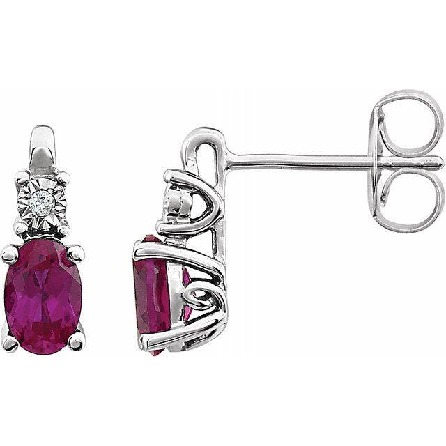 14K White Ruby - Lab-Grown & .02 CTW Diamond Accented Earrings