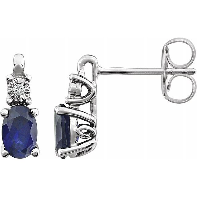 14K White Blue Sapphire - Lab-Grown & .02 CTW Diamond Accented Earrings